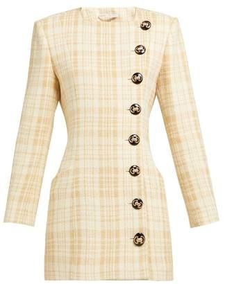 Alessandra Rich Buttoned Wool Blend Tweed Mini Dress - Womens - Beige Multi