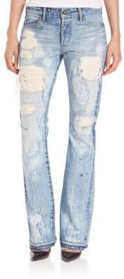 Bell Paint Splatter Distressed Bootcut Jeans