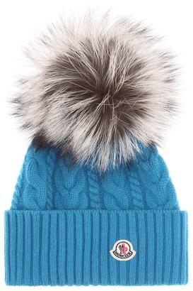 Moncler Fur-trimmed wool-blend beanie
