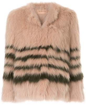 Yves Salomon striped long-sleeve jacket