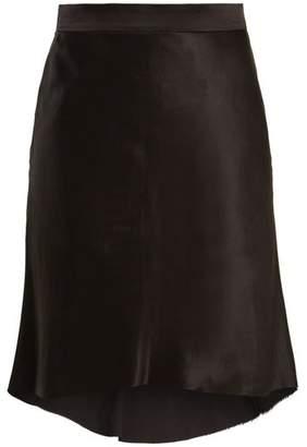 Raey Bias Godet Silk Satin Slip Skirt - Womens - Black
