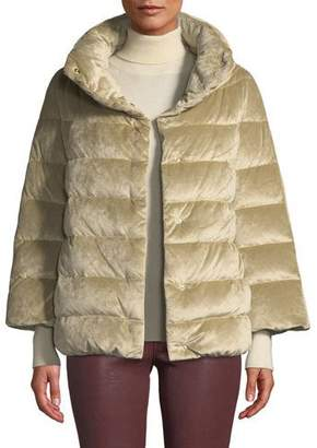 Herno Velvet Down-Filled Puffer Cocoon Coat
