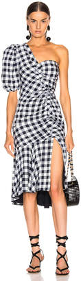 Jonathan Simkhai Lux Twill One Sleeve Dress in Midnight Gingham | FWRD