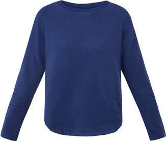 Derek Rose Devon Navy Cotton Loopback Sweater