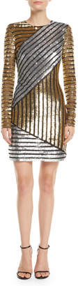 Michael Kors Long-Sleeve Sequined Stretch-Tulle Mini Cocktail Dress