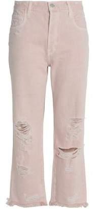 J Brand Distressed High-Rise Straight-Leg Jeans