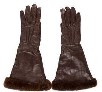 Hermes Leather Fur-Trimmed Gloves