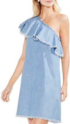 Vince Camuto Frayed Ruffle One-Shoulder Chambray Dress