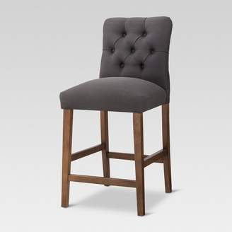 "Threshold Brookline Tufted 24"" Counter Stool - Chestnut Wood Finish"