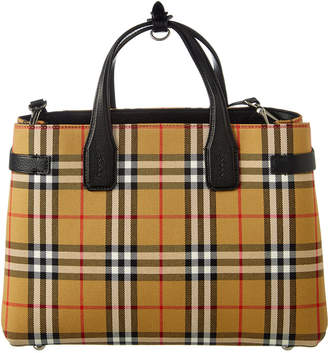 Burberry Medium Banner Vintage Check & Leather Tote