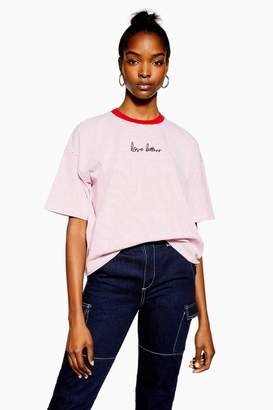 Topshop Womens Tall Love Letters T-Shirt - Red
