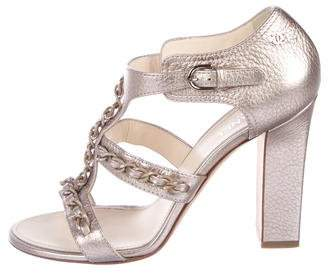 Chanel Metallic Cage Sandals