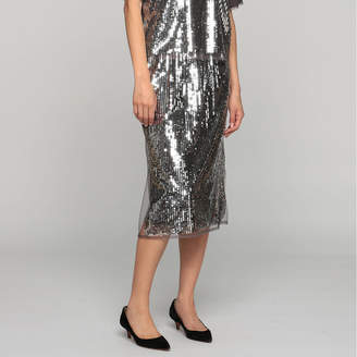 Muveil (ミュベール) - ミュベール スパンコール刺繍スカート