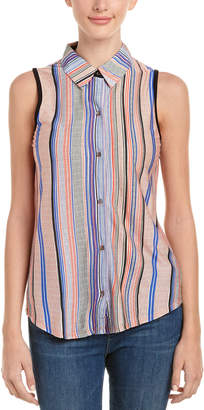 Three Dots Sleeveless Wool-Blend Shirt