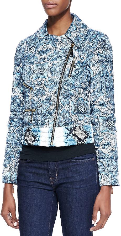 Just Cavalli Cyan Kennet-Print Short Light Puffer Jacket, Light Blue