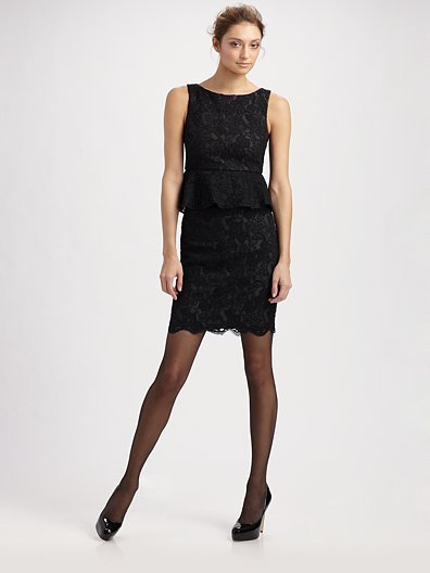 Alice + Olivia Josephine Lace Peplum Dress