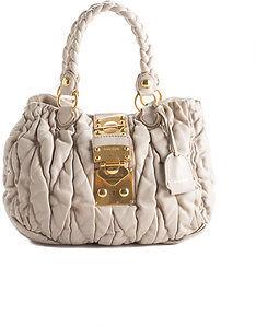 Miu MiuMiu Miu Ivory Leather Ruffled Two Handle Handbag BP4749MIU MHL
