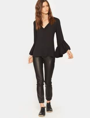 Halston Long Sleeve Ruched Top