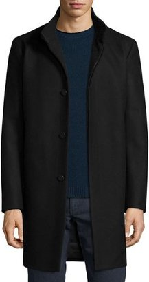 Theory Belvin Wool-Blend Car Coat, Black $745 thestylecure.com