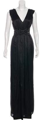 Christian Lacroix Velvet-Trimmed Silk Gown