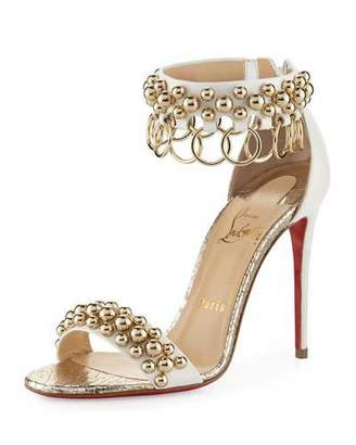Christian Louboutin Gypsandal Ring-Trim 100mm Red Sole Sandal, Latte $1,045 thestylecure.com