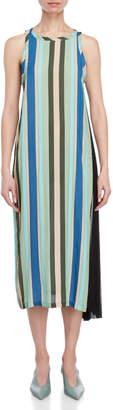 Liviana Conti Striped Asymmetrical Maxi Dress