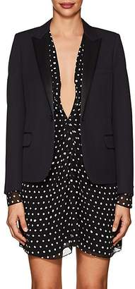 Saint Laurent Women's Wool Piqué Crop Blazer - Navy