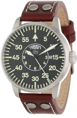 Laco 1925 1925 Men's 861806 Pilot Classic Round Stainless Steel Watch with Leather Strap