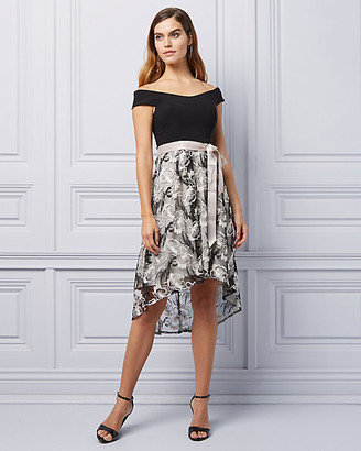 Le Château Embroidered High-Low Hem Cocktail Dress