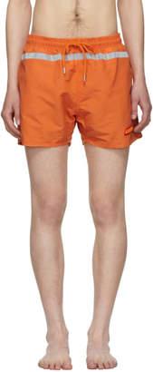 Heron Preston Orange Reflective Swim Shorts