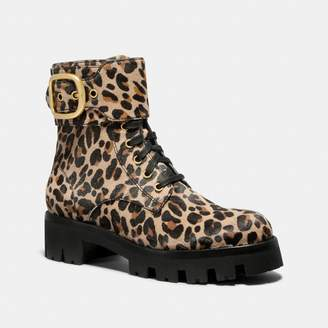 25d7aa39a9 Coach Lucy Lace Up Bootie With Leopard Print