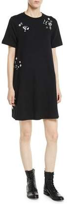 McQ Embellished Crewneck Short Tunic Dress