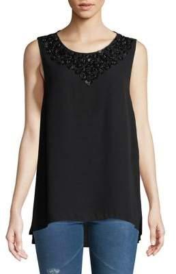 IMNYC Isaac Mizrahi Embellished Neckline Sleeveless Hi-Lo Blouse