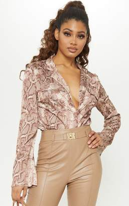 57122483955840 PrettyLittleThing Tall Brown Satin Snake Print Pocket Detail Shirt