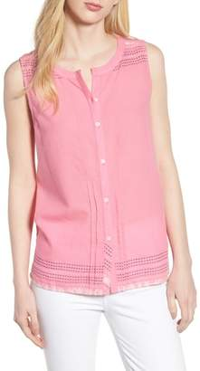 Caslon Embroidered Cotton Sleeveless Blouse