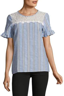 Karl Lagerfeld Women's Lace-Yoke Bell-Sleeve Stripe Top