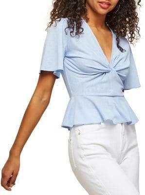 Miss Selfridge Angel-Sleeve Peplum Top