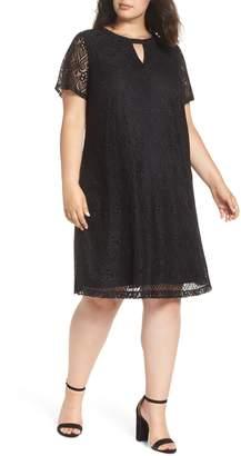 ECI Keyhole Neck Lace A-Line Dress