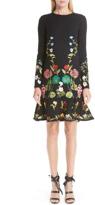 Oscar de la Renta Garden Embroidery Ruffle Hem Stretch Wool Dress