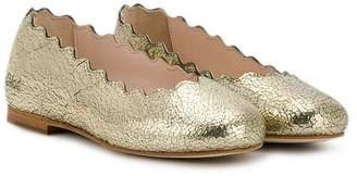 Chloé Kids cracked metallic ballerina shoes