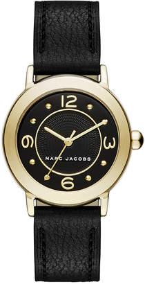 Marc Jacobs Women Riley Black Leather Strap Watch 28mm