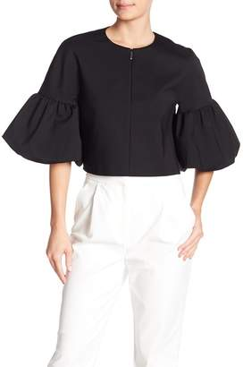 Tibi Agatha Zip Front Balloon Sleeve Blouse