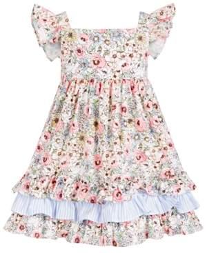 Bonnie Jean Toddler Girls Floral-Print Flutter-Sleeve Dress