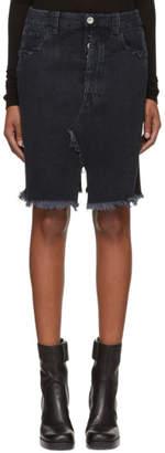 Unravel Black Deconstructed Denim Miniskirt