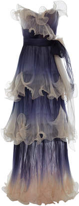Marchesa Pleated Organza Gown