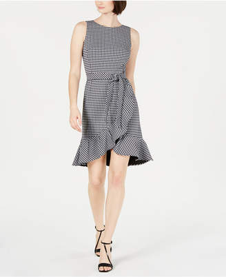 0d86860ebaec Calvin Klein Belted Gingham Ruffle Dress