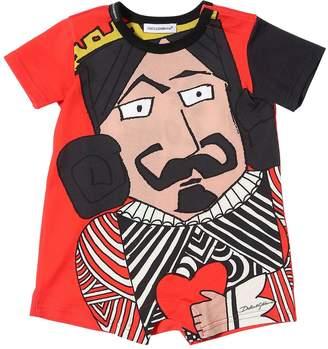 Dolce & Gabbana King Of Love Cotton Jersey Romper