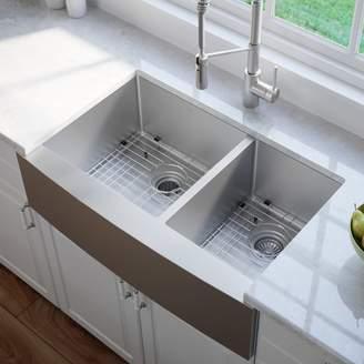 "Orren Ellis Yokoyama 33"" x 21"" Double Basin Flush Mount with Basin Rack, Basket Strainer and Dish Towel"