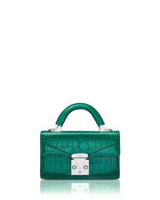 Stalvey Mini Crocodile Top Handle Bag, Green