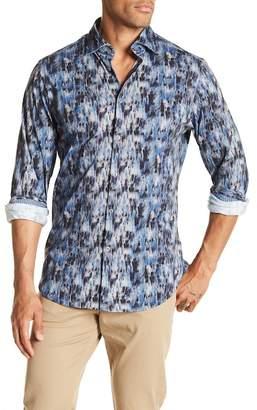 Stone Rose Herringbone Printed Slim Fit Shirt